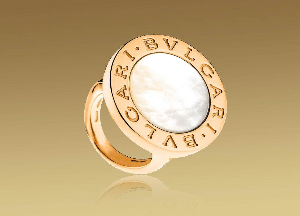 Bvlgaribvlgari Ring In 18kt Pink Gold With Mother Of Pearl