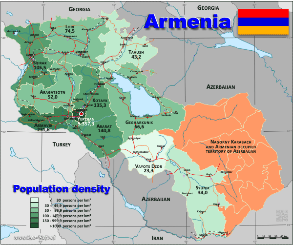 Armenia Population Density Europe Maps And Charts