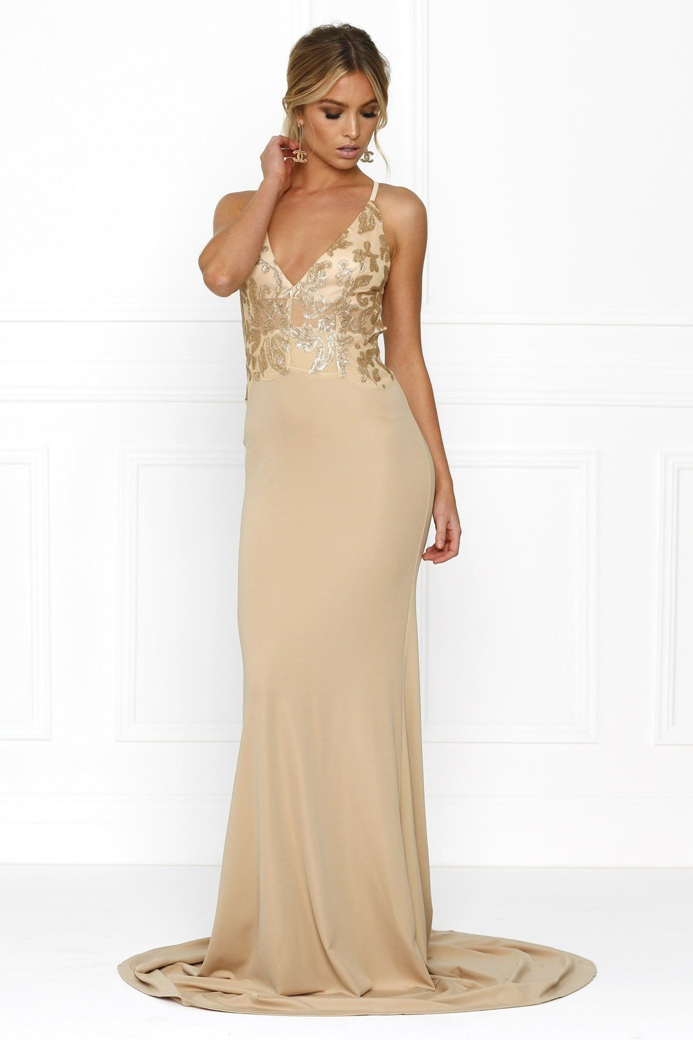 Honey Couture SHERA Gold w Gold Embroided Tulle Formal Gown Dress ...
