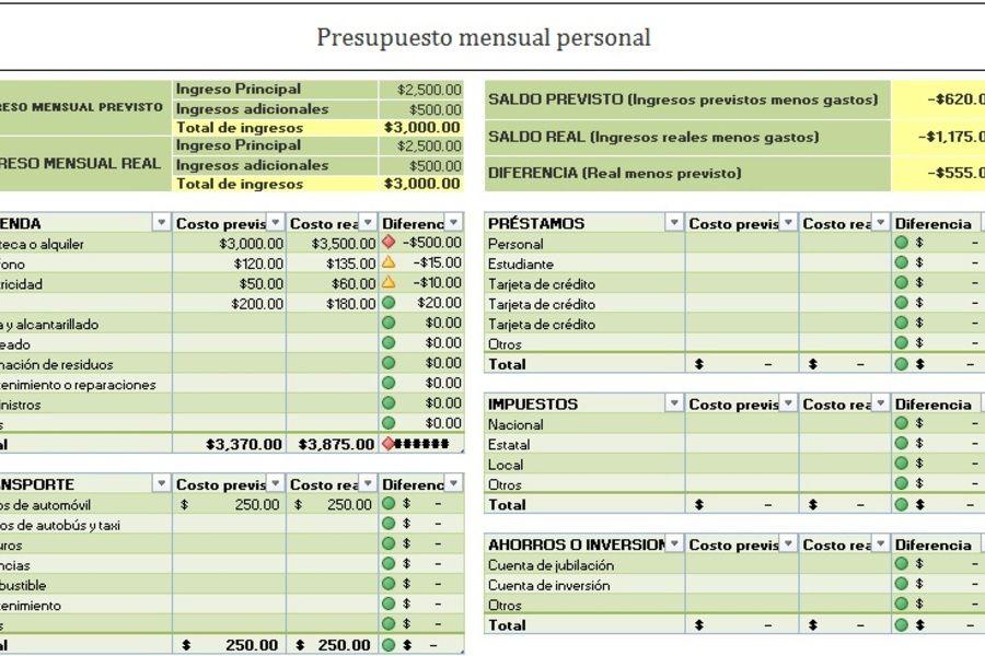 planilla de excel para presupuesto anual mensual planificadores