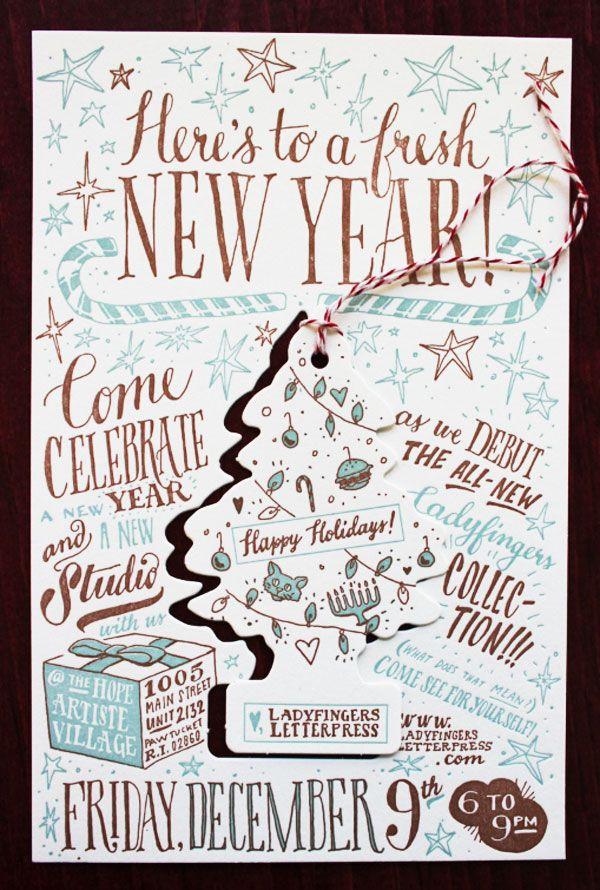 Ladyfingers Letterpress Holiday Party Invitation | Design ...
