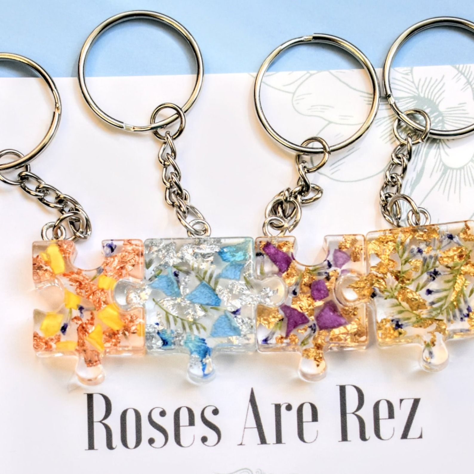 Puzzle Piece Real Rose Petal Resin Necklace
