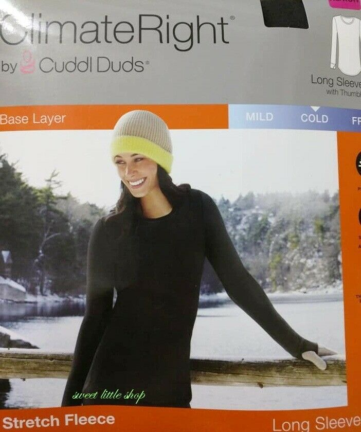 Small Black Climateright by Cuddle Duds Stretch Fleece Long Sleeve Crew top