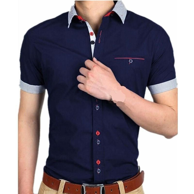 Men Casual Elegant Shirts, Short Sleeves, White, Black, Navy