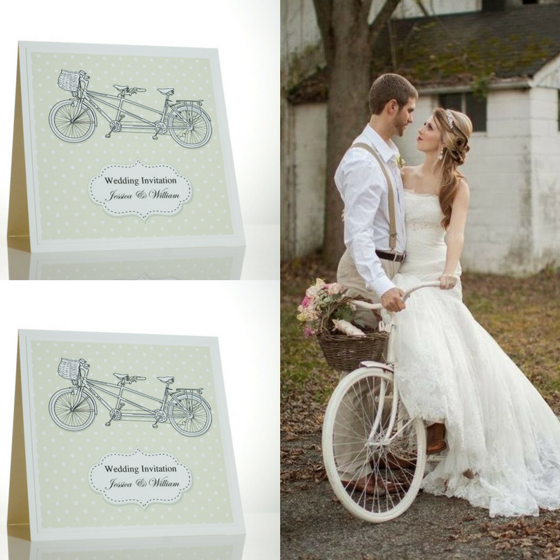 Tandem Bicycle Wedding Invitations With White Polka Dots