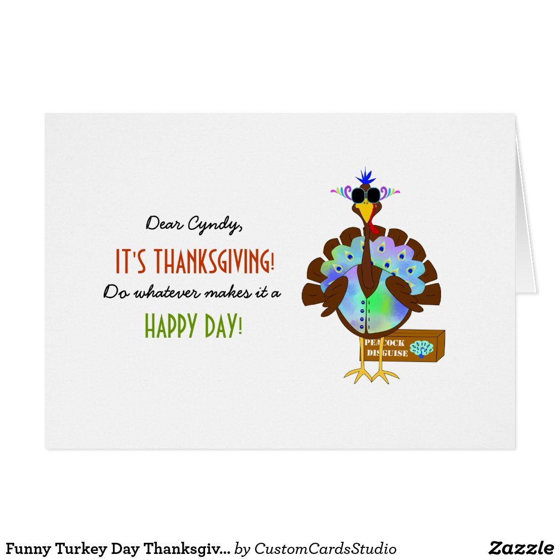 Funny Turkey Day Thanksgiving Greeting Card Funny Turkey