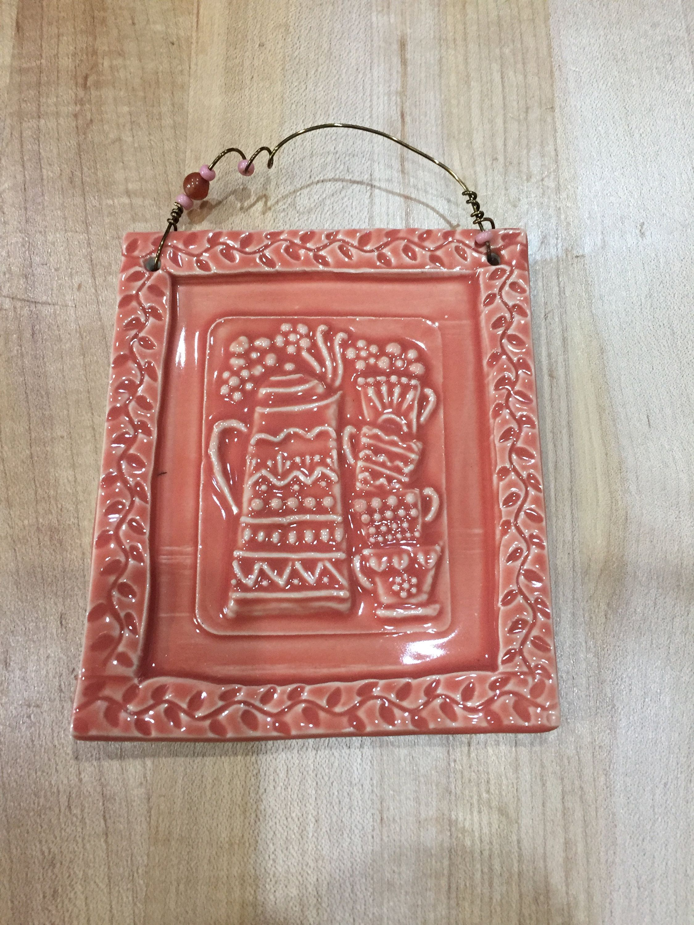 Coral Coffee and Cups Ceramic Art Tile, Coffee Decor
