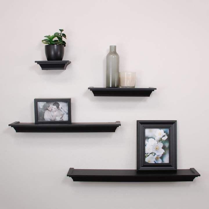 Nexxt Classic 4 Piece Wall Shelf Set Wall Shelves Black