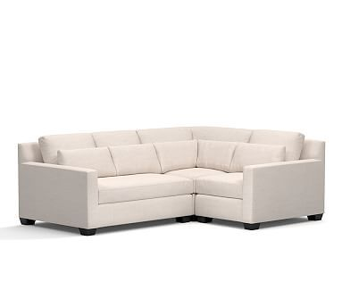 York Square Arm Upholstered Deep Seat Left Arm 3-Piece Corner Sectional, Down Blend Wrapped Cushions, Twill White