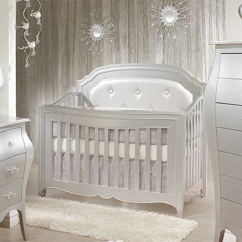 Alexa Convertible Crib Silver Button Tufted Baby