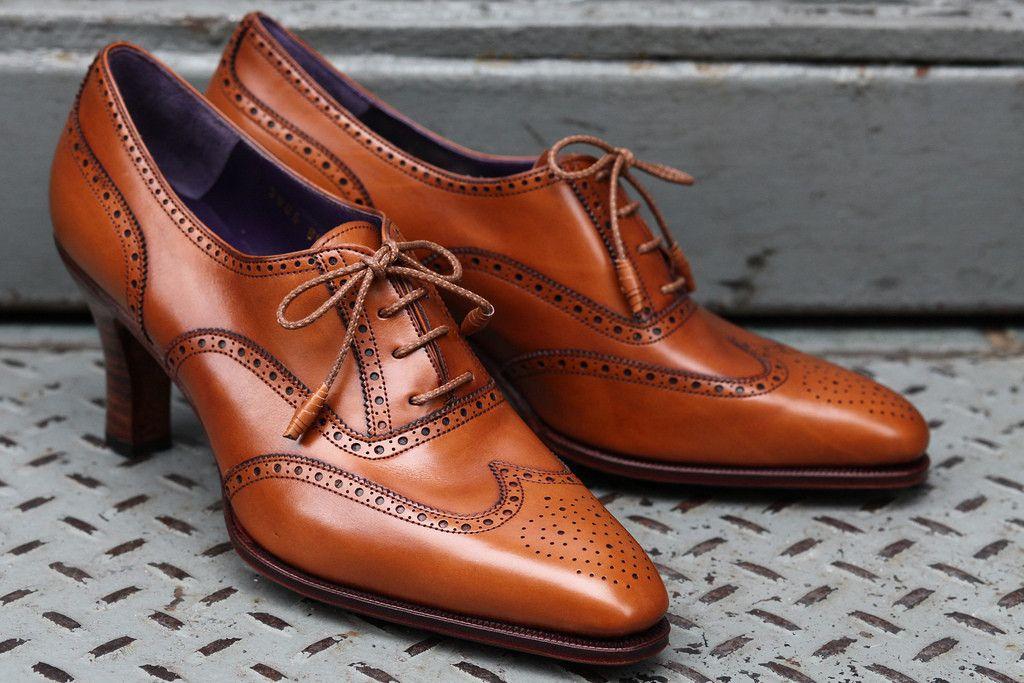 4956209bb7d Woolfe Wingtip Caramel Calfskin, 70mm Heel by Carmina   Epaulet New ...