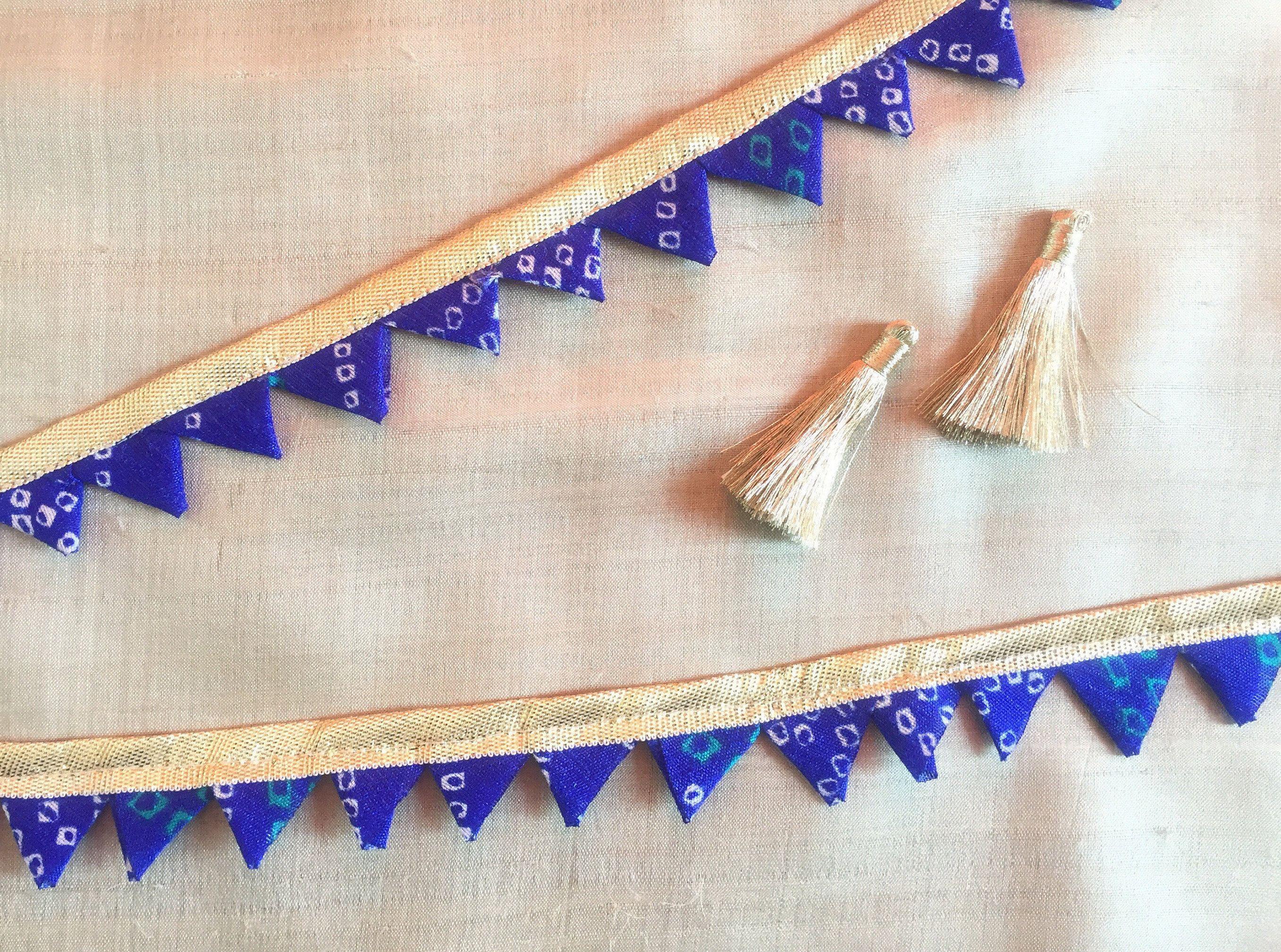 cb1f201e23fe Blue Bandhani Gota Patti Trim,Indian Resist Tie Dye Trim,Triangle ...