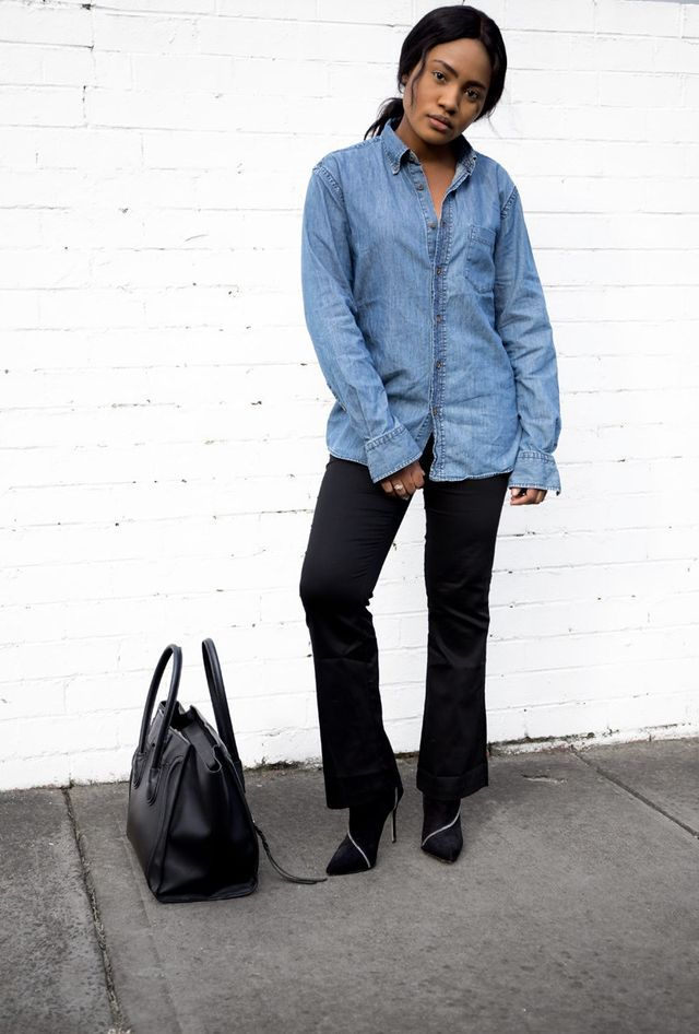 Denim Shirt & Black Flares