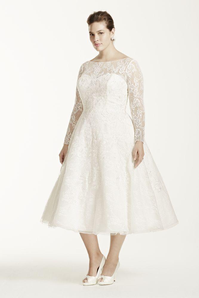 dfdc63ee6ec8d Short Lace Plus Size Oleg Cassini Long Sleeved Tea Length Wedding Dress -  Ivory, 26W