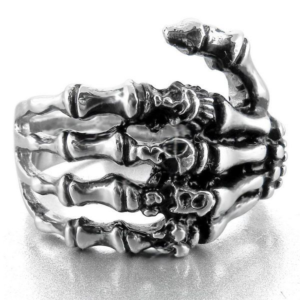 Men's Stainless Steel Ring Band Silver Black Skull Hand Bone Gothic Size13 (this is very different! )