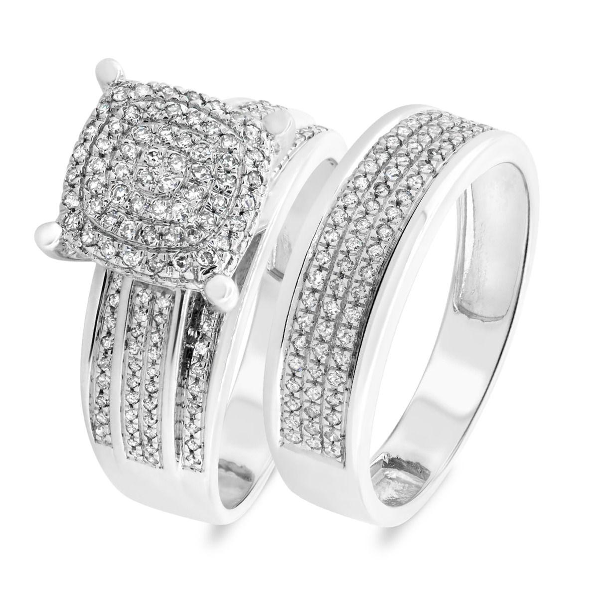 1/2 Carat T.W. Diamond Matching Bridal Ring Set 10K White