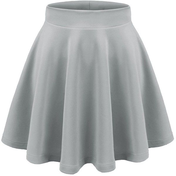Aenlley Womens Basic Shirts Stretchy Short Pleated Circle Flared... ($6.99) ❤ liked on Polyvore featuring skirts, circle skater skirt, flared skater skirt, short circle skirt, knee length pleated skirt and skater skirt