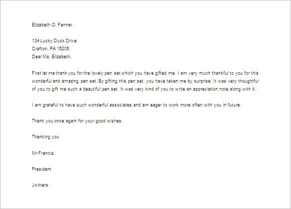 thank you letter for gift free sample example format download - thank you letter for gift