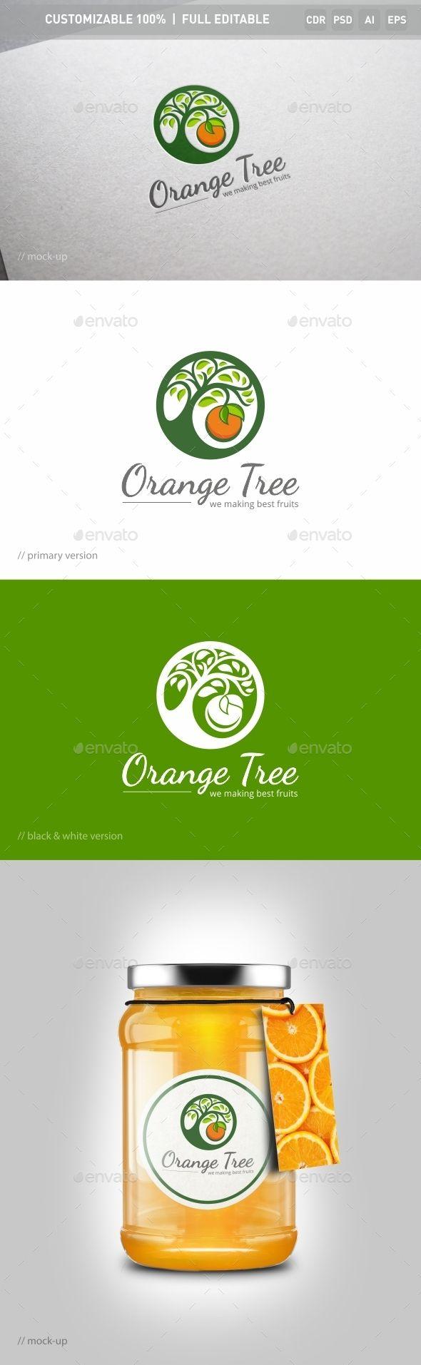Orange Tree Logo Template — Photoshop PSD #eco #fruit logo ...  Orange Tree Log...