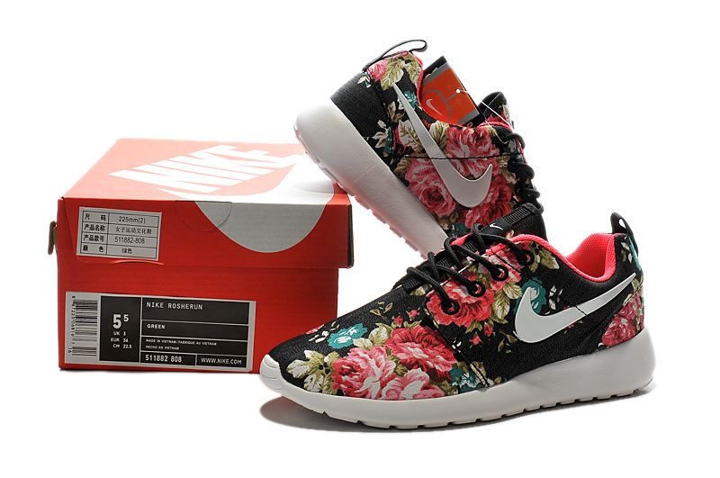 Discounted Nike Adidas Puma Air Jordan Shoes Online Store Hot Sale Nike  Womens Roshe Run Painted Black Red Flowers -