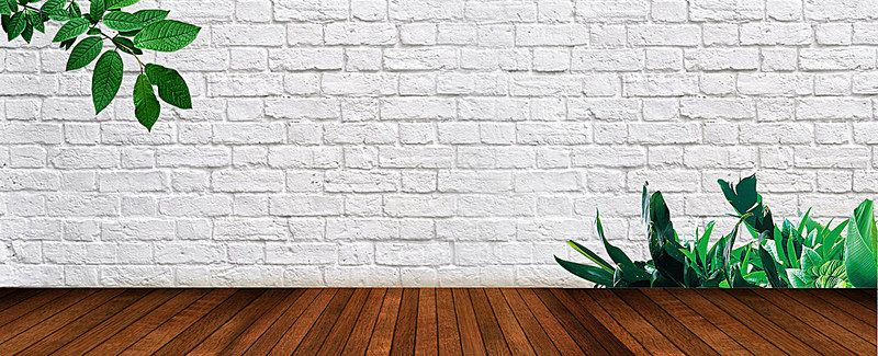 Fresh White Brick Wall And Green Plants Background White Brick Plant Background White Brick Walls