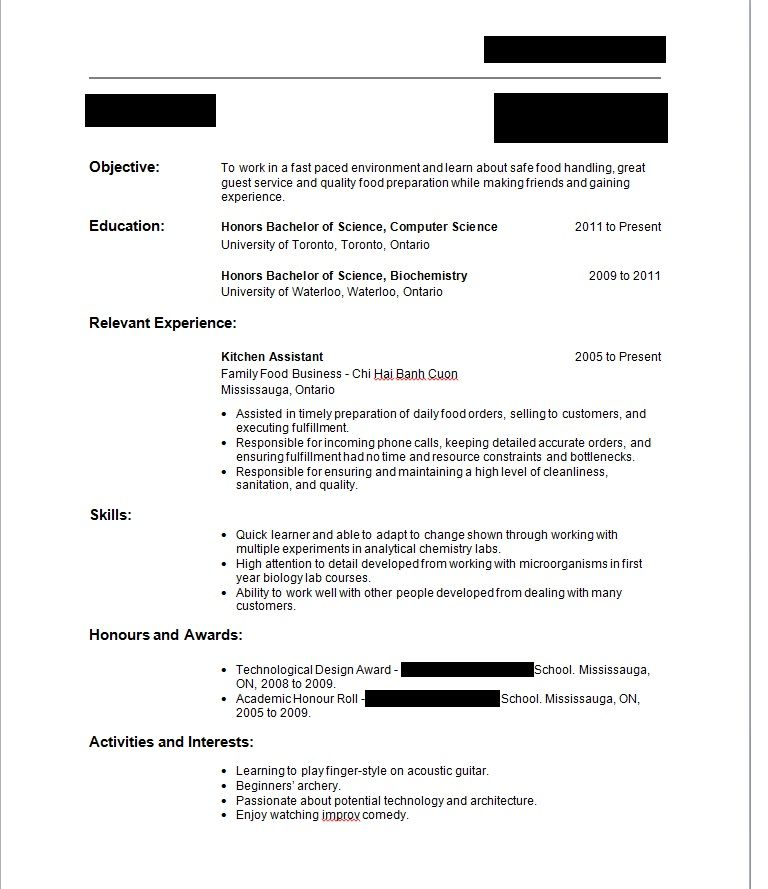 Write Resume First Time With No Job Experience Sample - Write - food service resumes