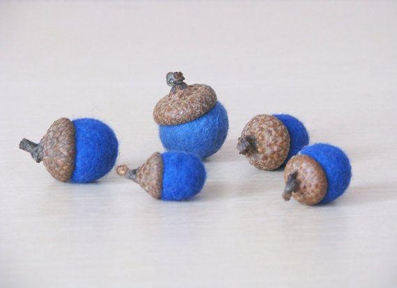 Felted wool acorns set of 5 blue color. by SunshineFelt on Etsy, $9.00