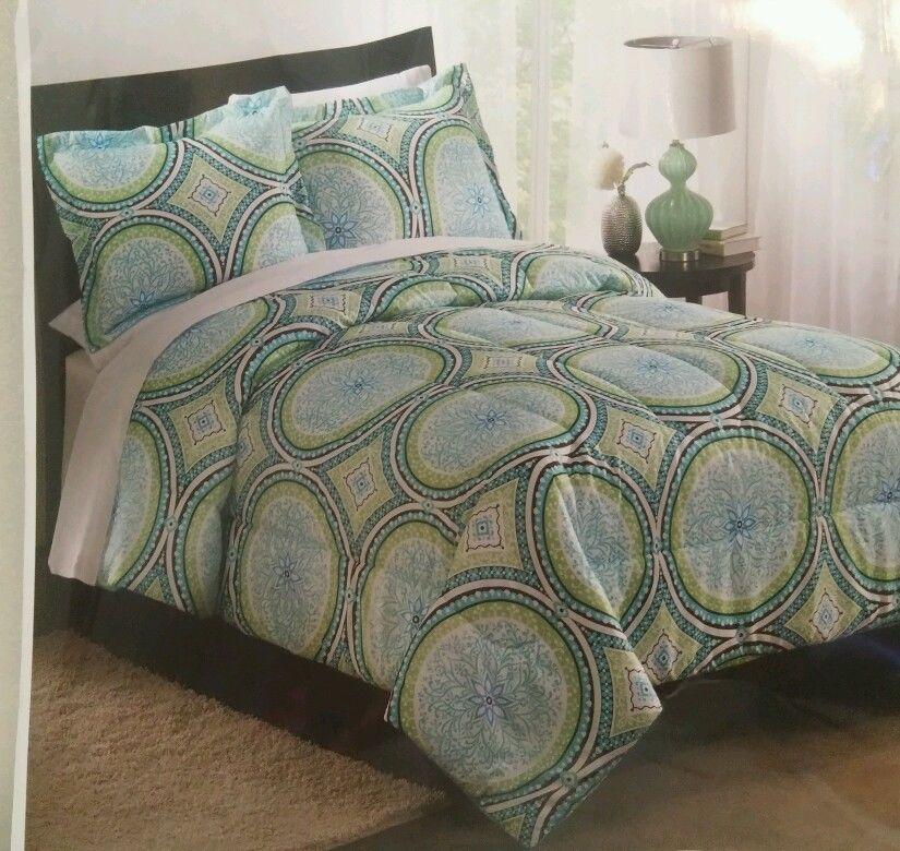 Queen Full Comforter Set Turquoise Green Black White Medallion - Contemporary green comforter set