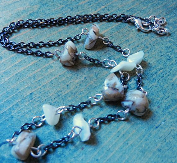 Black Chain Necklace Women's Jewelry Cream and by Sewstacycharms, $23.50