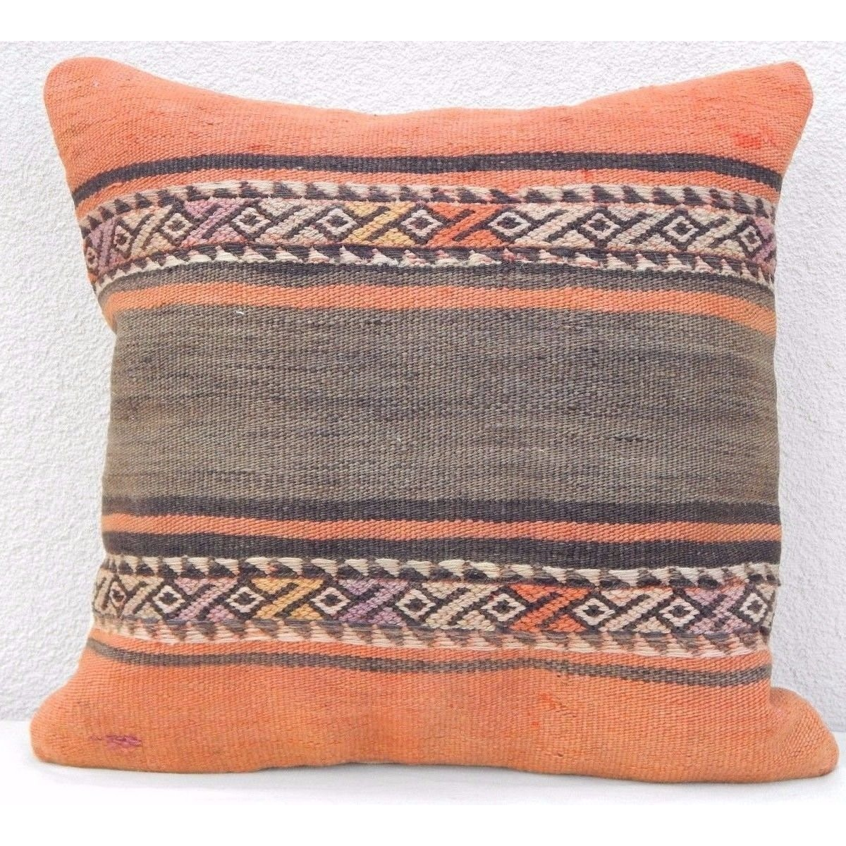 20x20 Vintage Handmade Pale Orange Rug Pillow Cover Rustic Accent Kilim Cushion Floorcushion