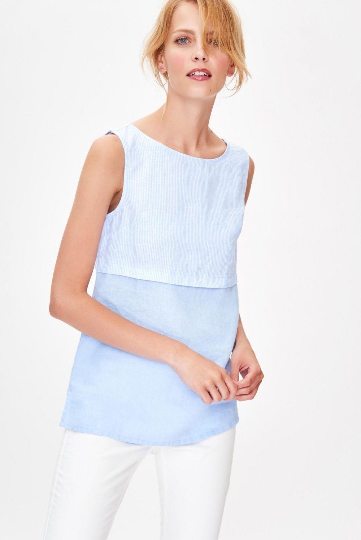 a0d73a53fbe5c Ida linen sleeveless blouse color  blue