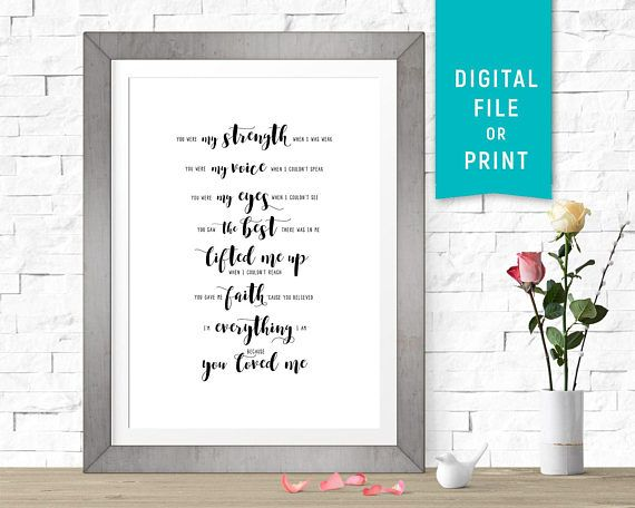 Because You Loved Me Celine Dion Custom Wedding Song Lyrics Sign Paper Anniversary 1 Year Gift Modern Calligraphy