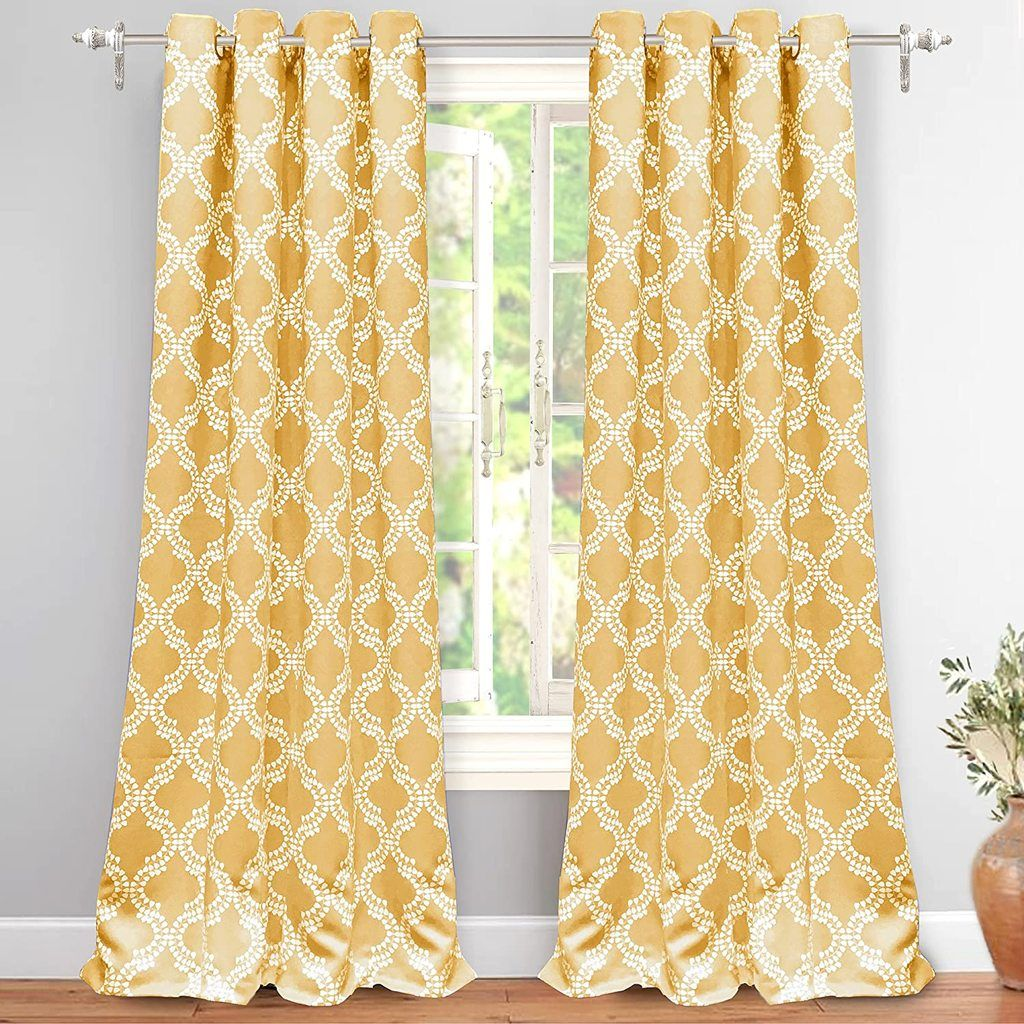 Geometric Pattern Thermal Insulated Blackout Curtains In 2021 Yellow Bedding Curtains Yellow Curtains