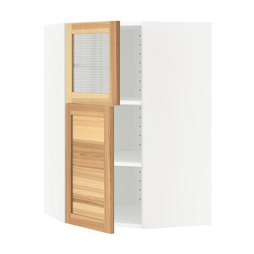 IKEA - METOD, Pensile ang/ripiani/1anta/1anta vet, bianco, Torhamn color naturale frassino, , Puoi adattare lo spazio alle tue esigenze grazie al ripiano regolabile.Puoi scegliere di montare l'anta a destra o a sinistra.Struttura di mm 18 di spessore.