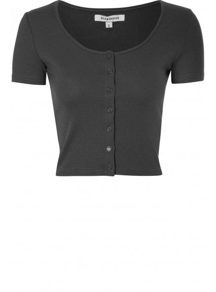 Black Ribbed Button Down Crop Top