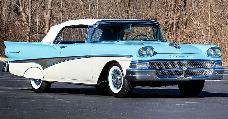 1958 Ford Fairlane 500 Sunliner – Azure Blue and Colonial White