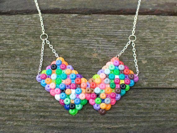 Handmade Multicolored Plastic Bead Collar Statement Necklace