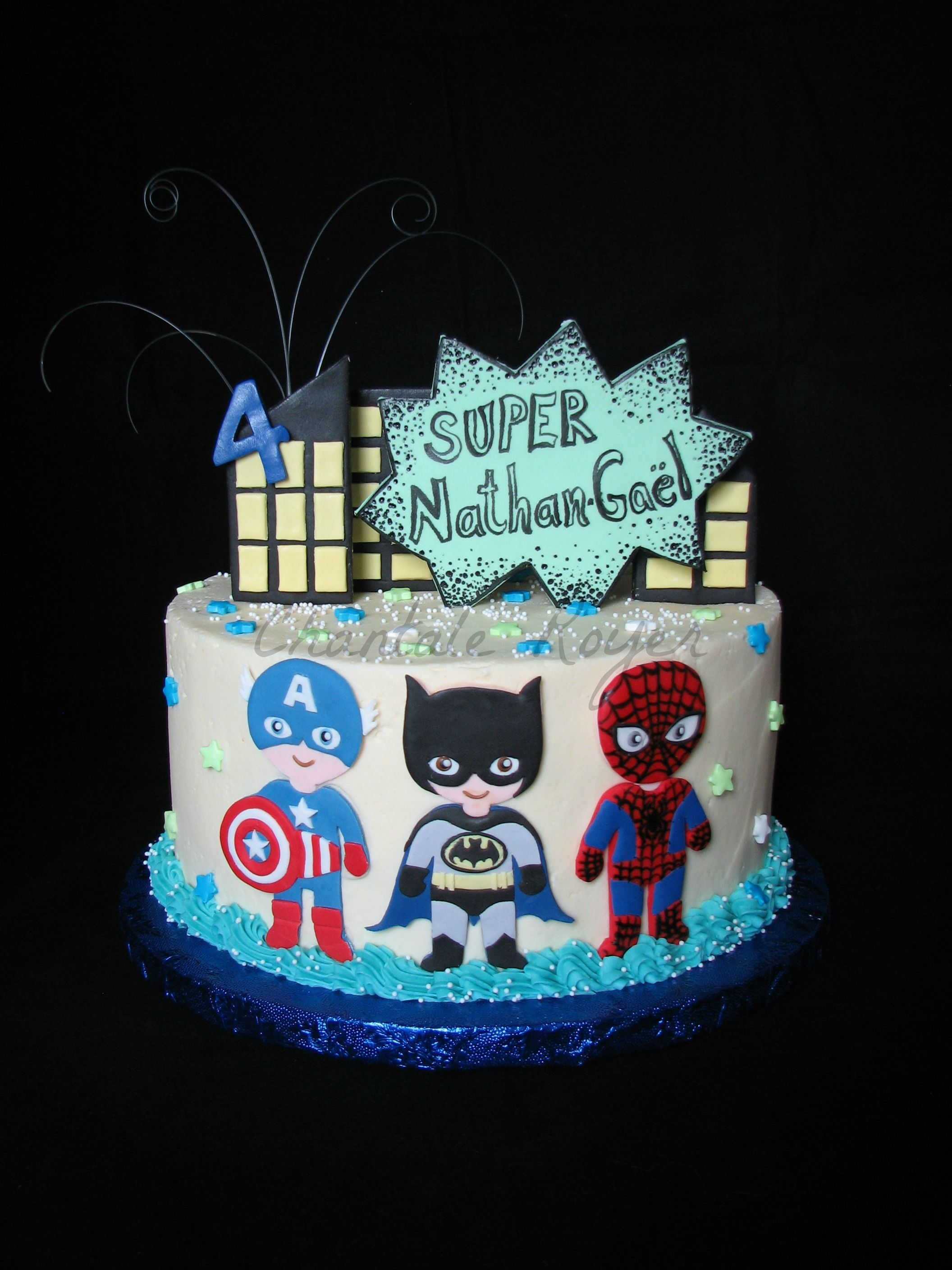 Gateau spiderman batman