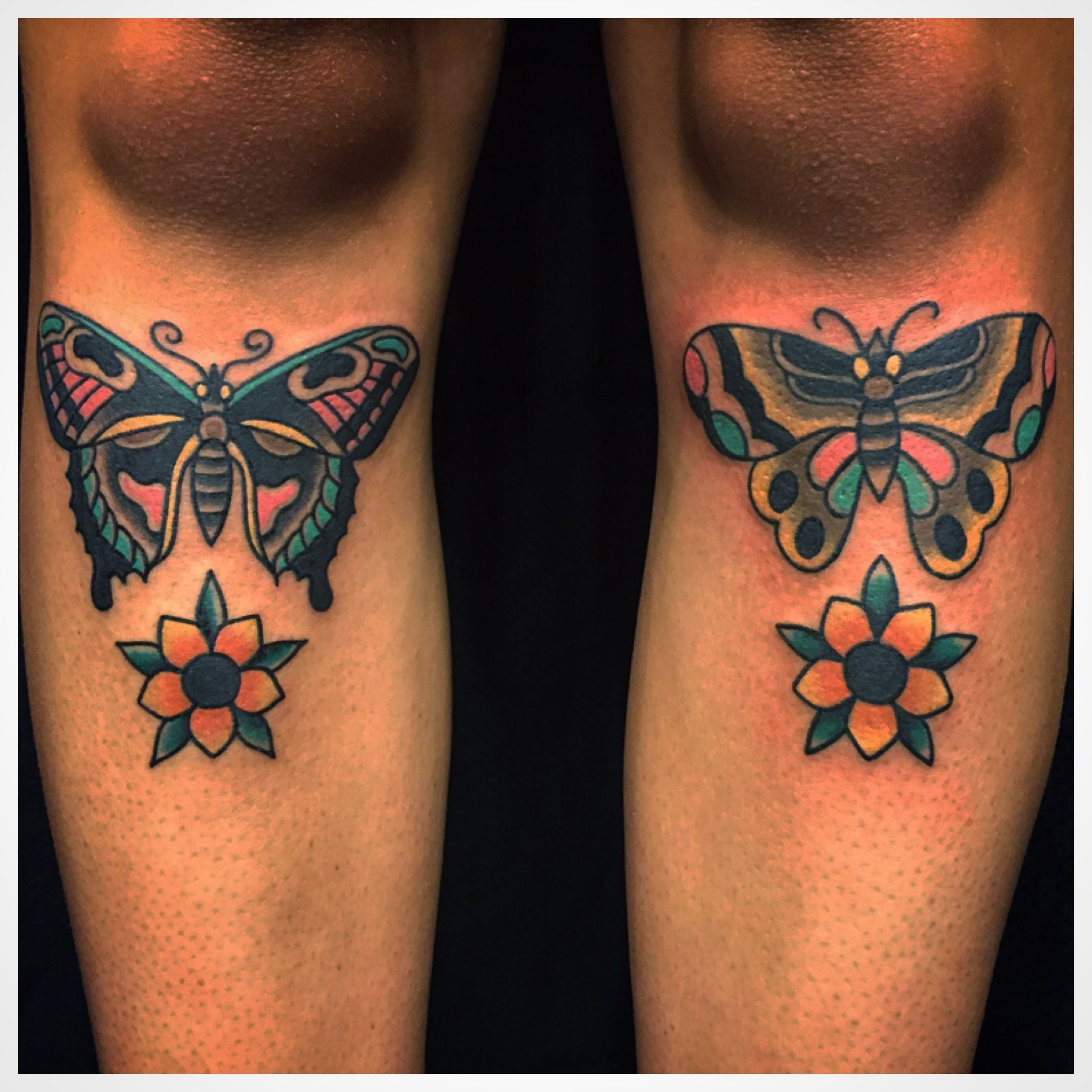 Traditional Color Butterfly And Flower Leg Tattoo Tattoosbyloaf Flower Leg Tattoos Leg Tattoos Tattoos