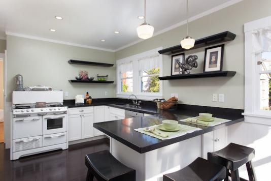 Best I Like This Kitchen White Cabinets Black Countertops 400 x 300