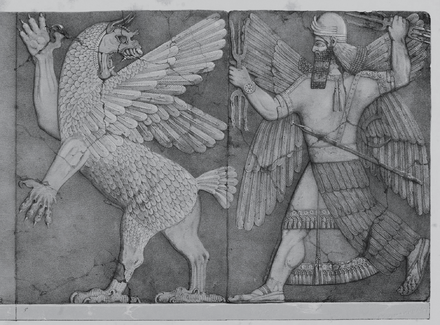 Ninurta with his thunderbolts pursues Anzû stealing the Tablets of Destiny from Enlil's sanctuary (Austen Henry Layard Monuments of Nineveh, 2nd Series, 1853)