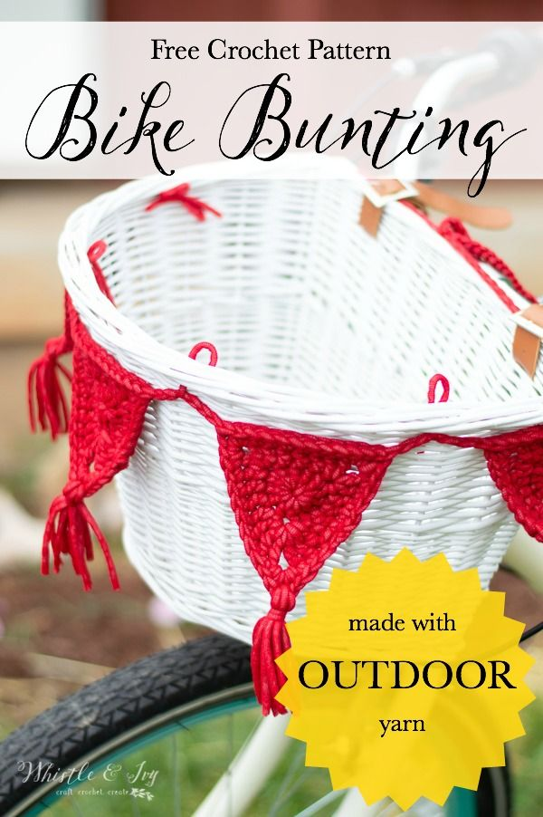 Crochet Bike Basket Bunting (with Outdoor Yarn!) - Free Crochet ...