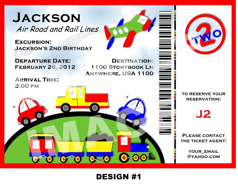 PLANES TRAINS and AUTOMOBILE Invitation - boarding pass invitation ...