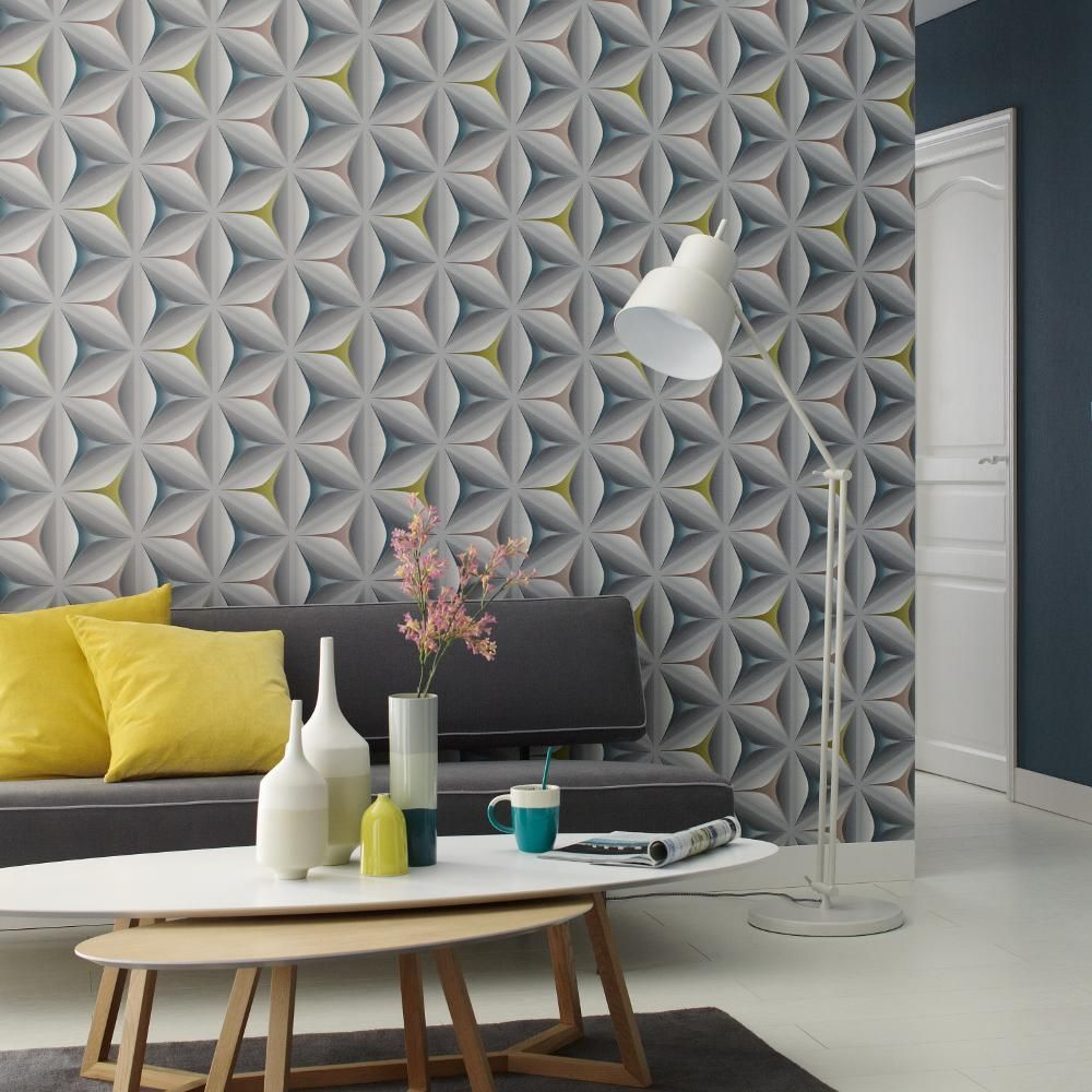 As creation star leaf pattern embossed abstract 3d effect wallpaper ...