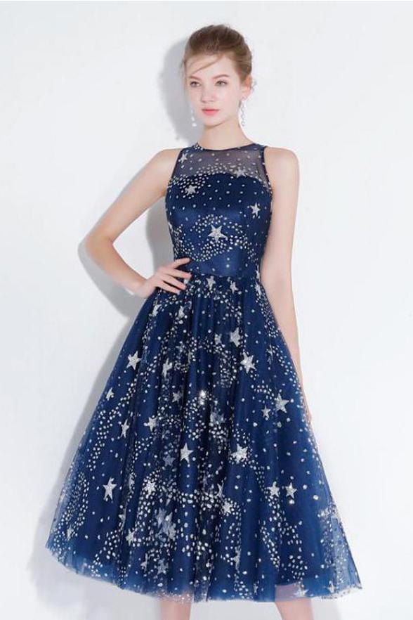 Photo of Neuankömmling Navy Blue Lace Homecoming Kleider Tee Länge Durchsichtig Günstige Prom …