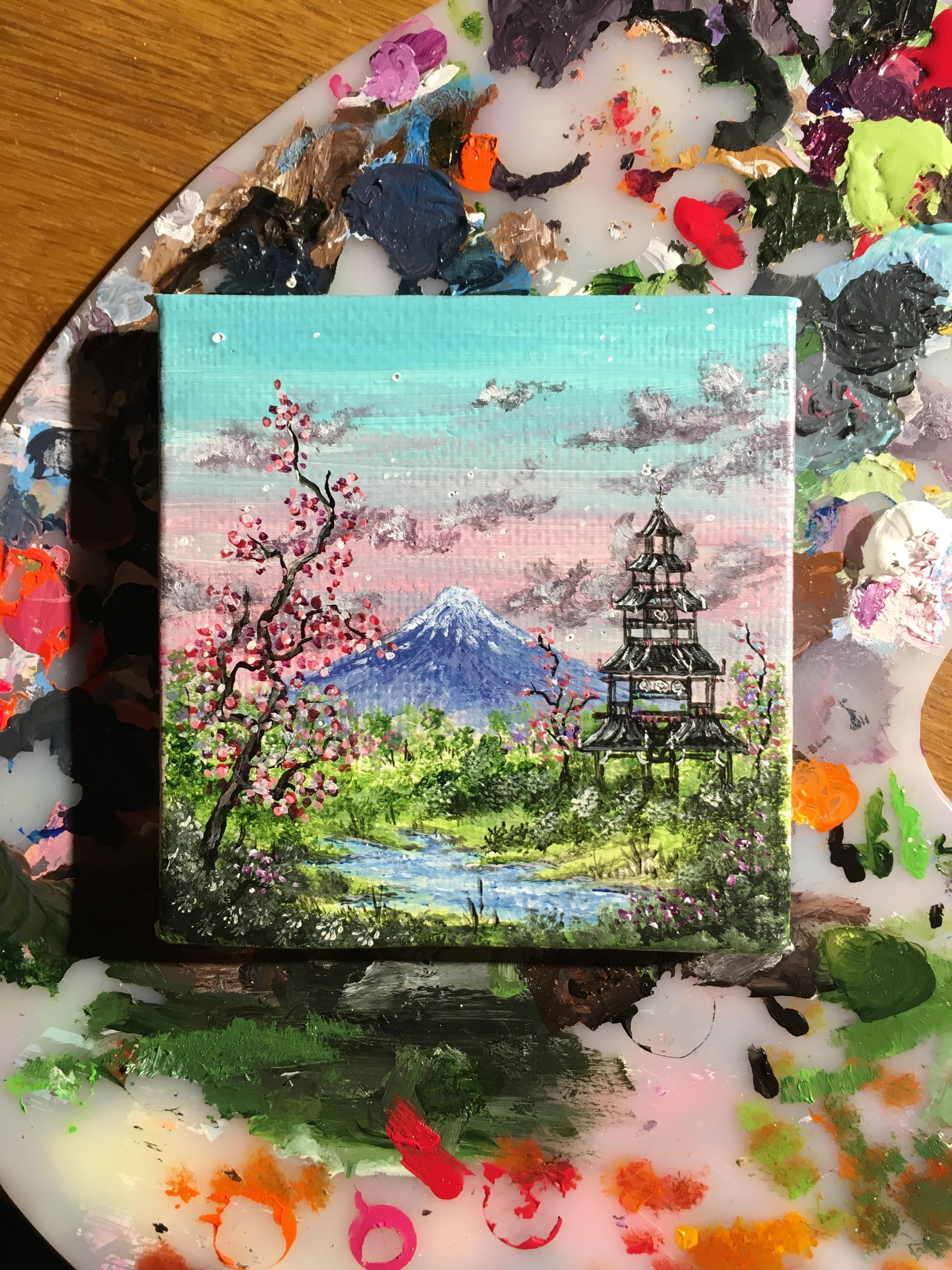 Miniature Mount Fuji, Acrylics, 2x2