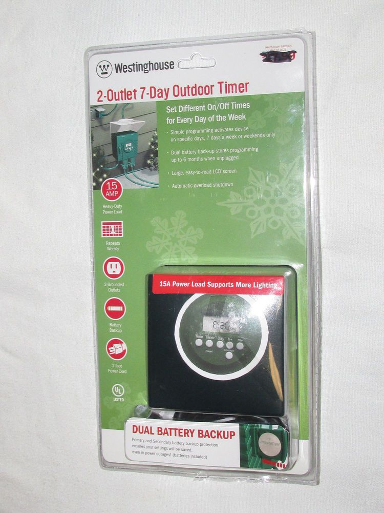 15amp Westinghouse 2 Outlet 7 Day Outdoor Indoor Led Digital On