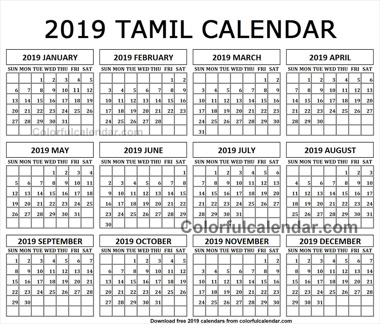 Calendar 2019 Tamil And English Template Designs Calendar Tamil