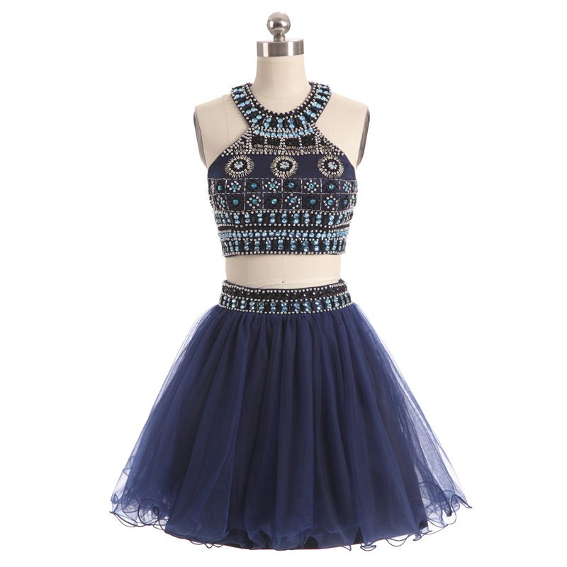 New Arrival Halter Two piece Prom dresses 2018 Vestido de festa ...