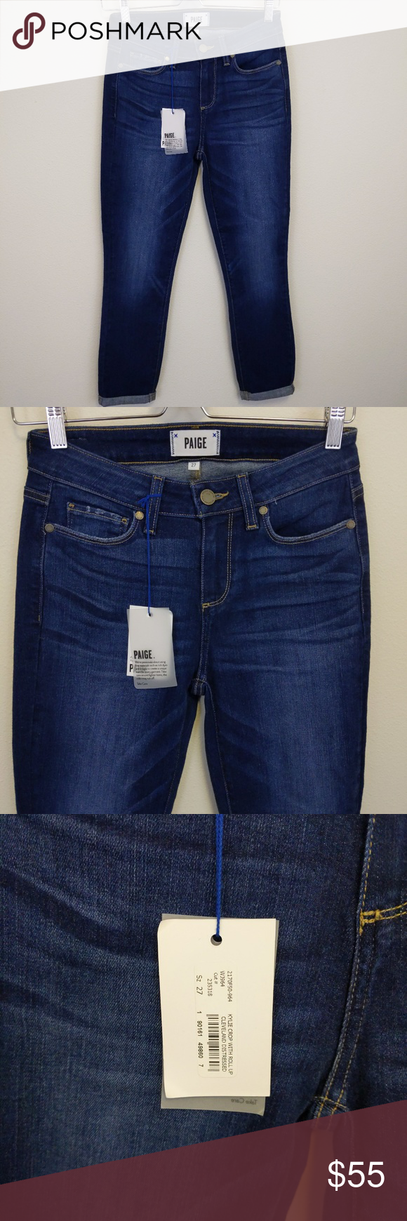 Paige Kylie Crop Roll up Cleveland Distressed 27 New with Tag Paige  Kylie Crop with Roll Up Cleveland Distressed. 5 pocket, zip fly with button closure and belt loops. Skinny leg with cuffed hem Fiber Content: 92% cotton 6% Polyester, 2% spandex Size: 27 Approximate Measurements: 13.5
